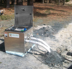 A geocube in use at a S.W.COLE project. Geocubes are used to test thermal conductivity.